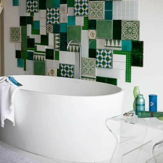 eklektisch mosaik grün patchwork fliesen badewanne