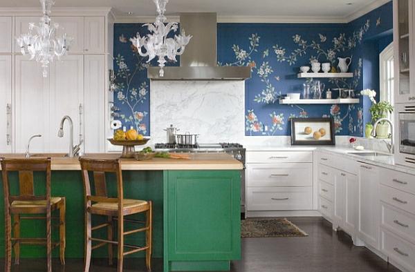 eklektisch stil kücheneinrichtung bunt leuchtend farbe