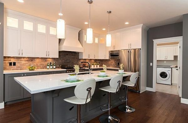 elegant kücheneinrichtung hängelampen hocker grau weiß