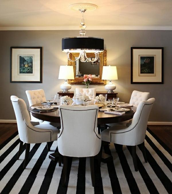 energiesparen esszimmer teppich kronleuchter rundtisch stühle