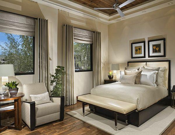 energiesparen große fenster dekoideen schlafzimmer sessel tisch