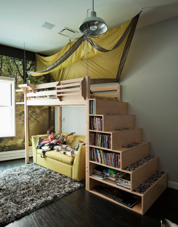 etagenbett mit treppe als schrank kinderzimmer