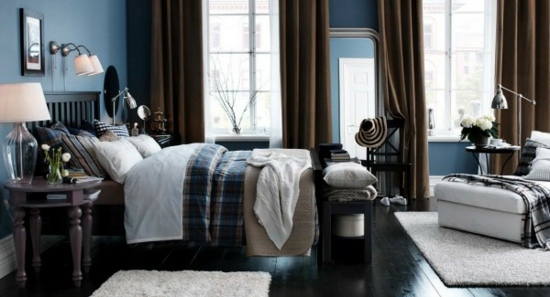 farbgestaltung farbakzente ikea schlafzimmer bett bettwäsche braun blau wandfarbe