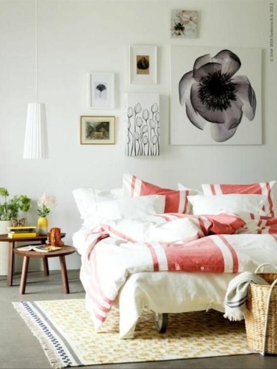 farbgestaltung farbakzente ikea schlafzimmer bett bettwäsche wandgestaltung