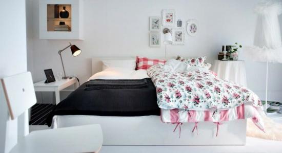 farbgestaltung farbakzente ikea schlafzimmer bett bettwäsche