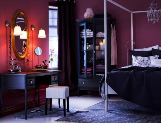farbgestaltung ikea schlafzimmer bett bettwäsche wandfarbe purpur