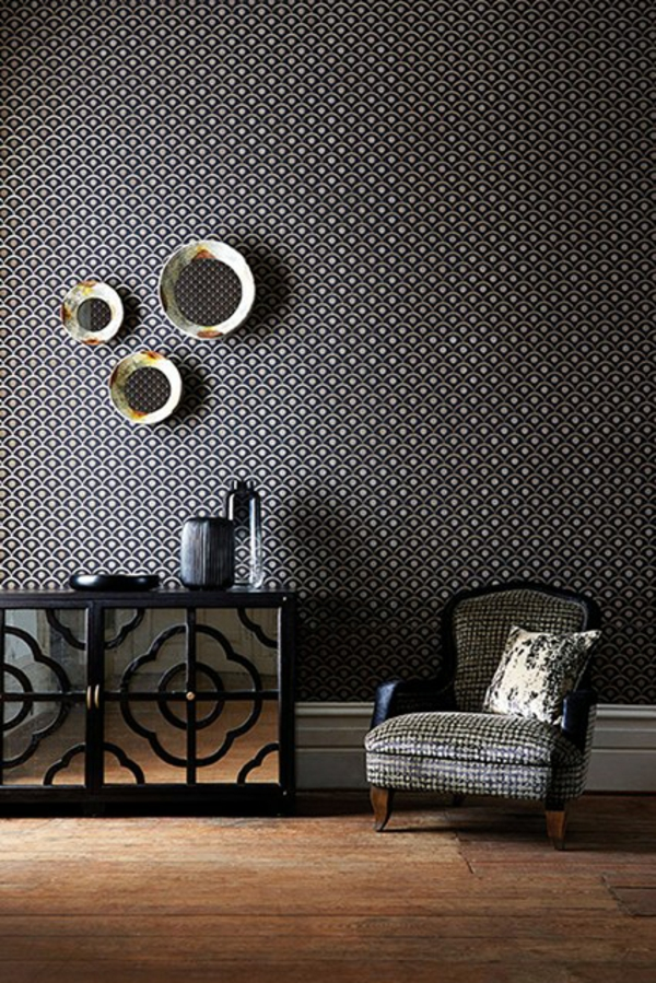 farbgestaltung schwarz weiß tapeten wandspiegel flur kommode