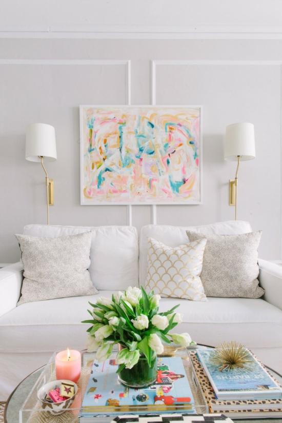 wohnzimmer pastellfarben:farbideen wohnzimmer wanddeko wandgemälde pastellfarben