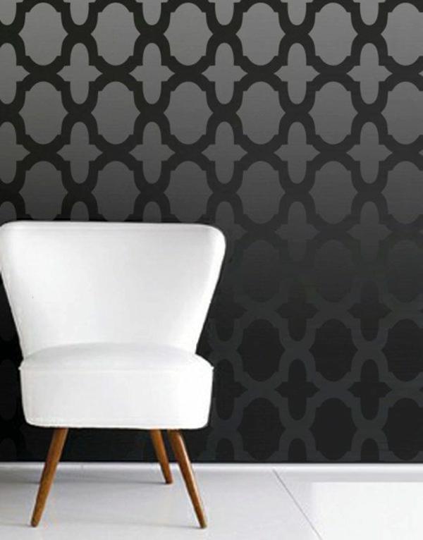 farbgestaltung mit schablonen in schwarz interior