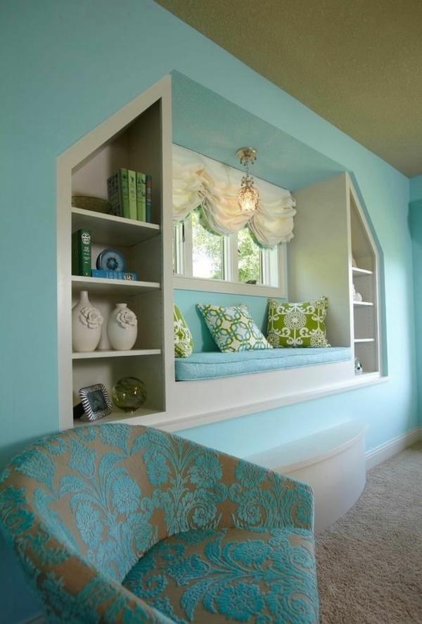 fensternische blaue wandgestaltung farben schlafzimmer