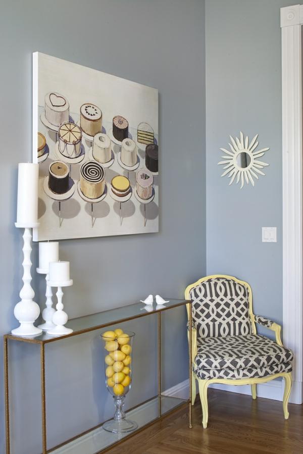 flur innendesign frische farben gemälde glastisch