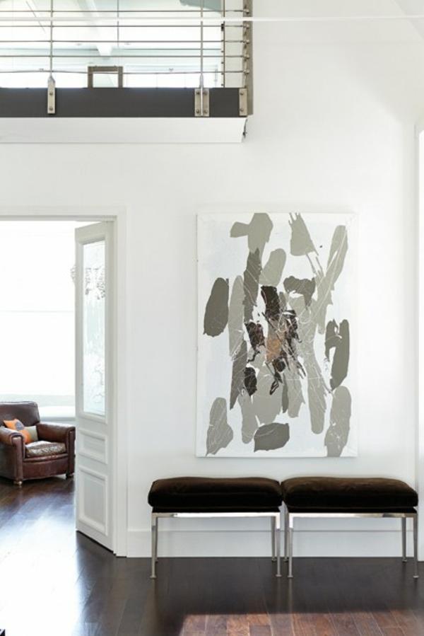 flur sitzbank  ideen einrichten wall art Wandgestaltung im Flur