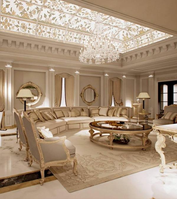 formelles design wohnzimmer rundes sofa dekokissen