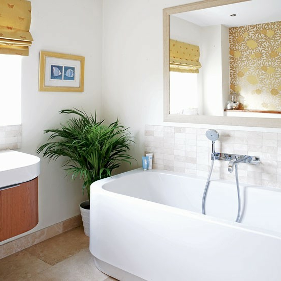 frisch pflanzen blumentopf wandspiegel badewanne