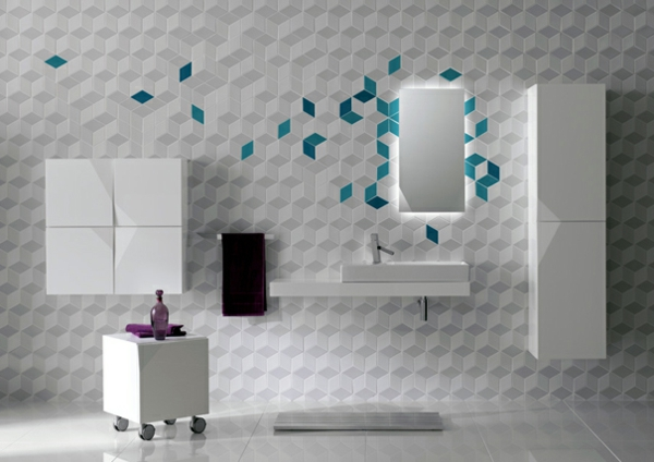 futuristisch stil weiß badezimmer fliesen