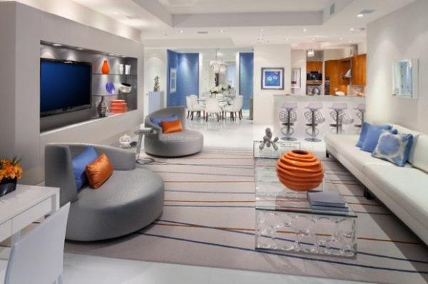 wohnzimmer grau orange. kreative wohnideen fr moderne ... - Wohnzimmer Grau Orange