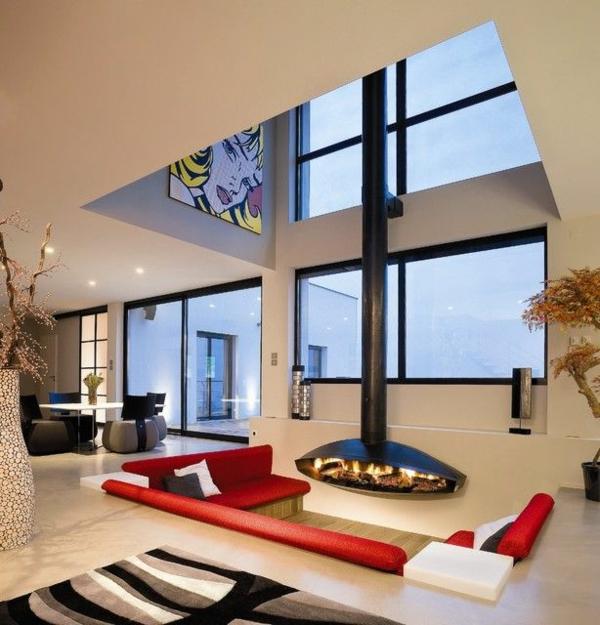 futuristische interior designideen kamin rotes sofa dekoideen