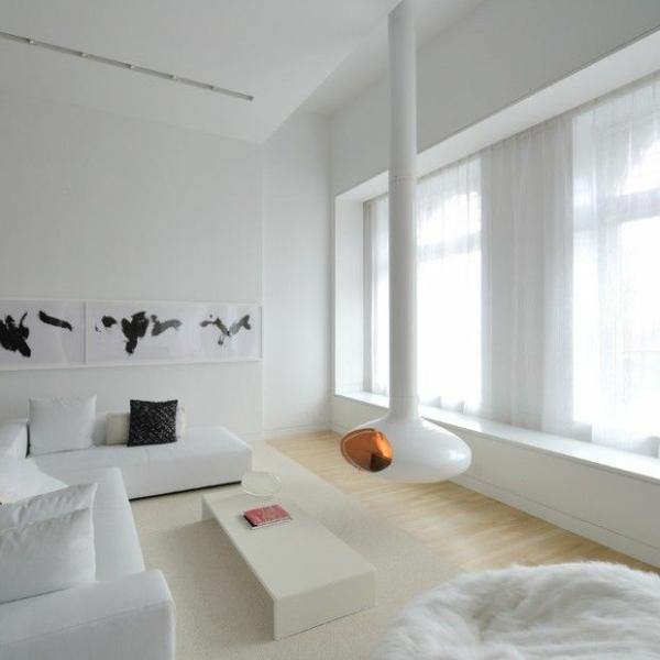 futuristische interior designideen in weiß kamin