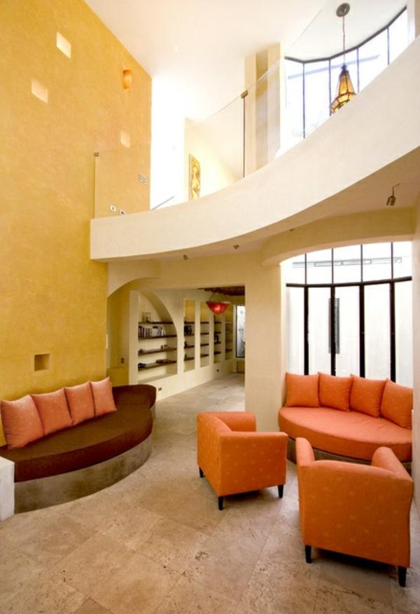 futuristische interior designideen orange akzente