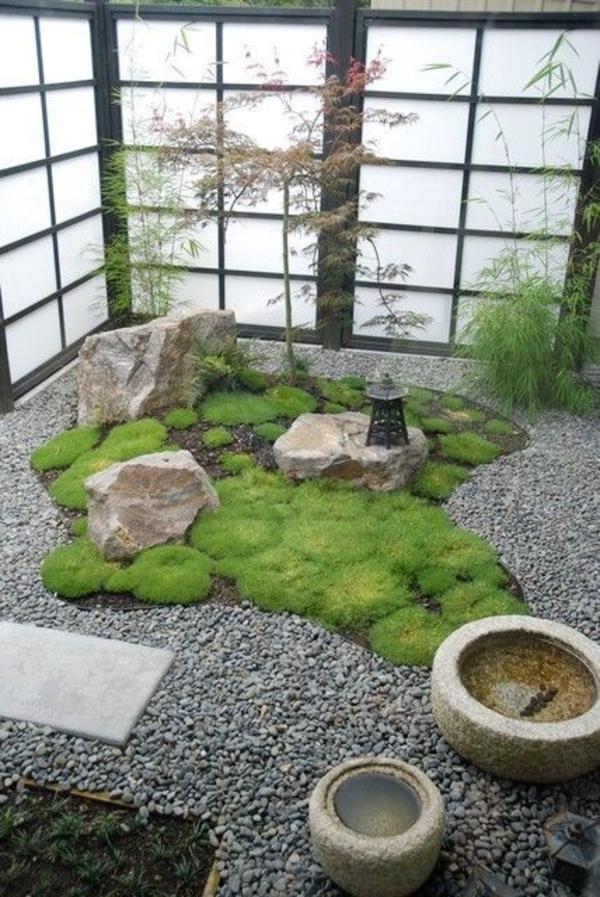 Garten Gestalten Mini Variante Kieselsteine Rasen Dekoration
