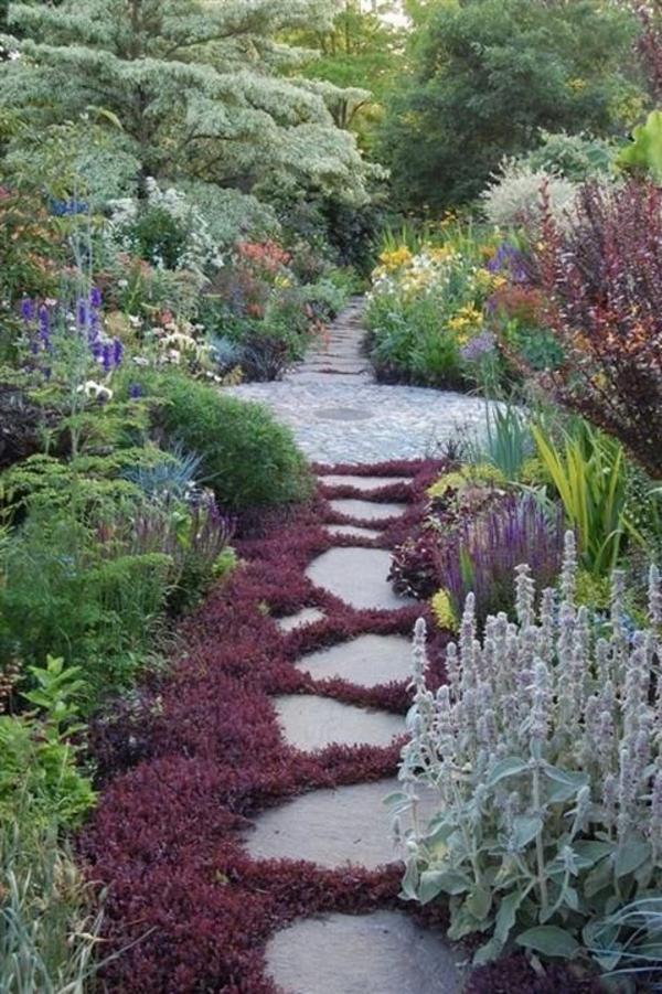 Garten Gestalten Pfad Betonplatten Und Pflanzen