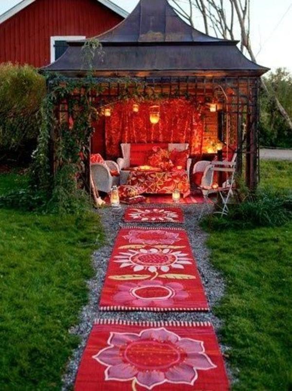 garten gestalten rotzimmer im freien laube rote teppiche