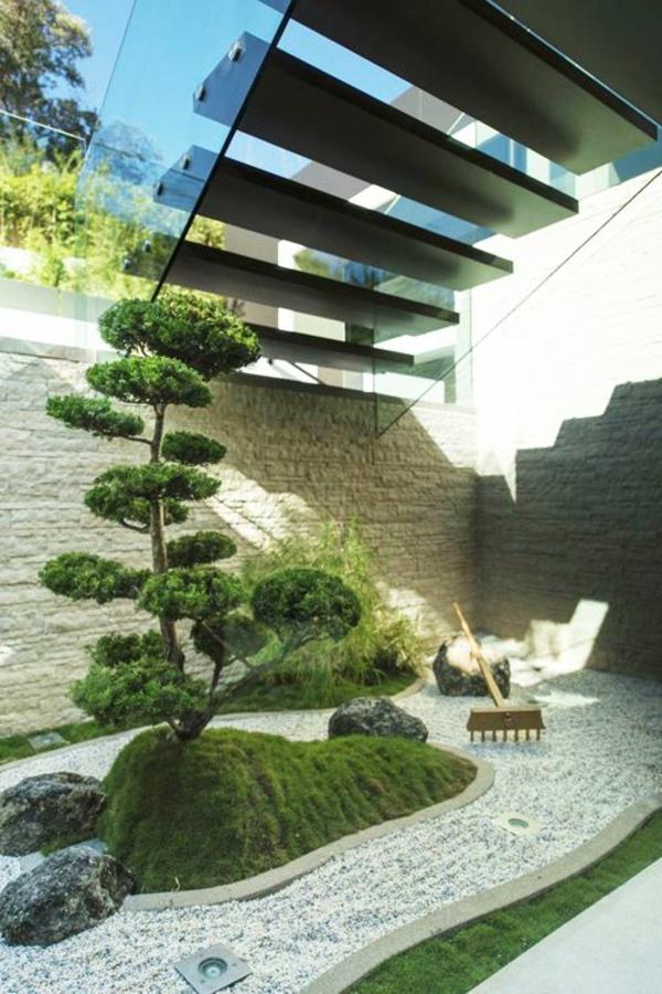 garten ideen kleinen  raum immergrüne dekoideen steinmauer