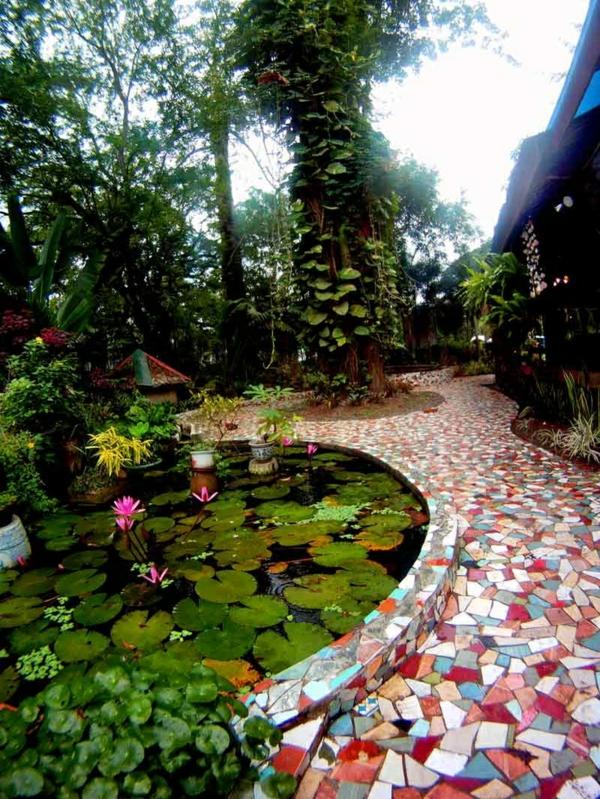 garten ideen mosaik lotos bäume