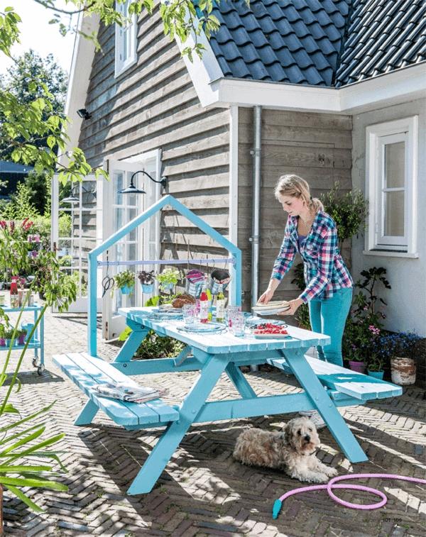 garten tisch selber bauen gartenmöbel farbe streichen