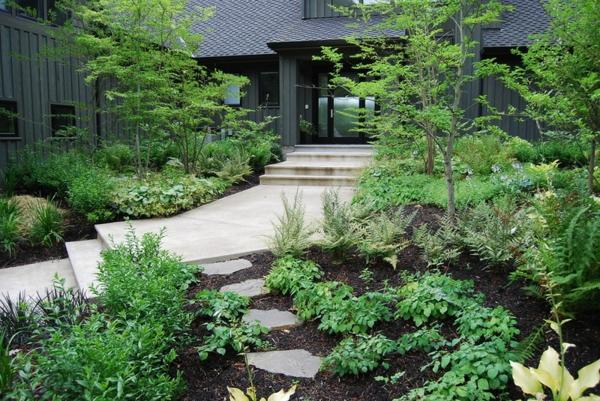 garten und landschaftsbau beton trittsteine pflanzen