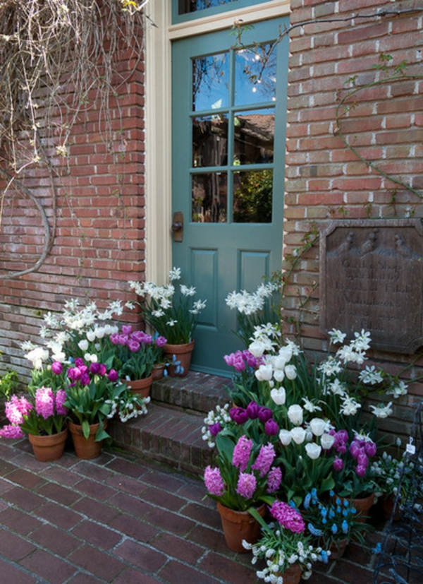 garten und landschaftsbauideen frühlingsblumen tulpen im blühmentopf