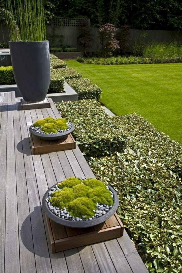gartendesign grüne in platten deko kies