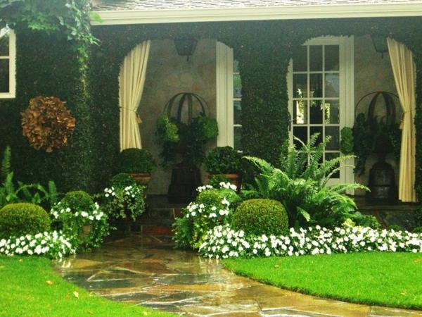 gartengestaltung bilder dekoideen grüne wiese haus pflanzen