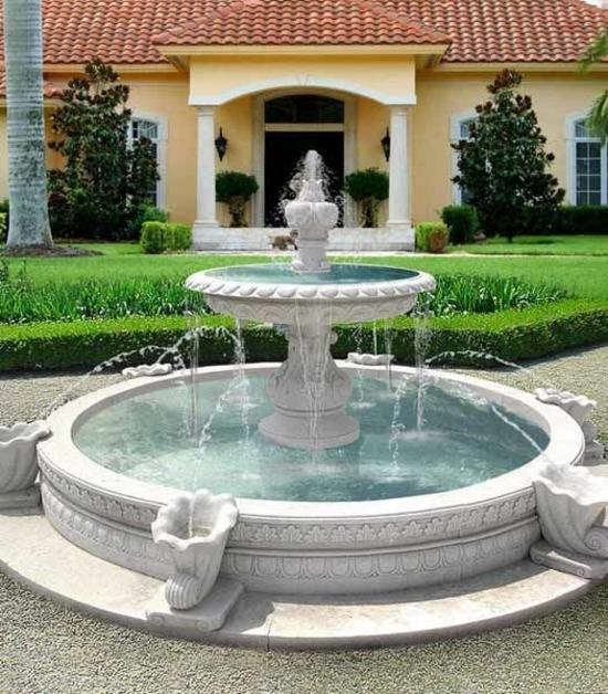 gartengestaltung fontäne im vorgarten ideen