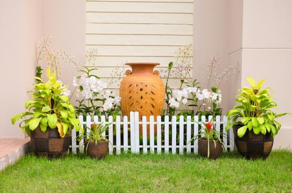 gartengestaltung ideen gartenbau gartenzaun topfpflanzen
