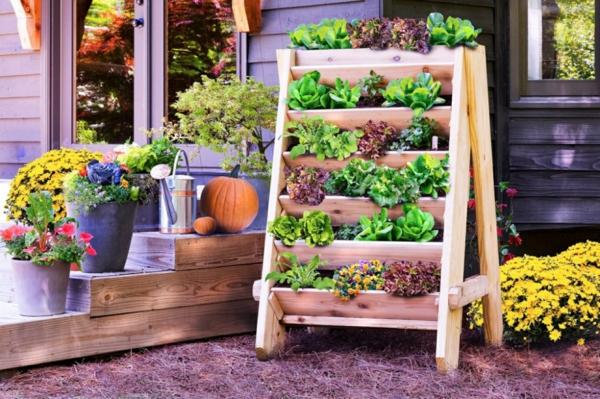 gartengestaltung ideen vertikaler garten anlegen gemüse topfblumen vorgarten