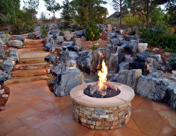 gartengestaltung in stein feuerstelle