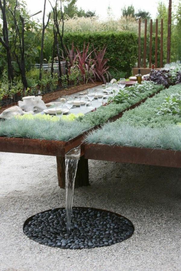 gartengestaltung-mit-kies-gartentisch-bauen -pflanzen-holz-wasser-esstisch, Garten und erstellen