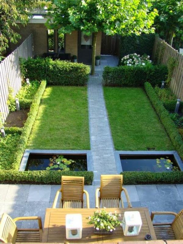 gartengestaltung mit sitzecke gras und steingehweg