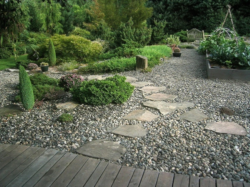 Vorgartengestaltung mit kies 15 vorgarten ideen for Garden designs using pebbles