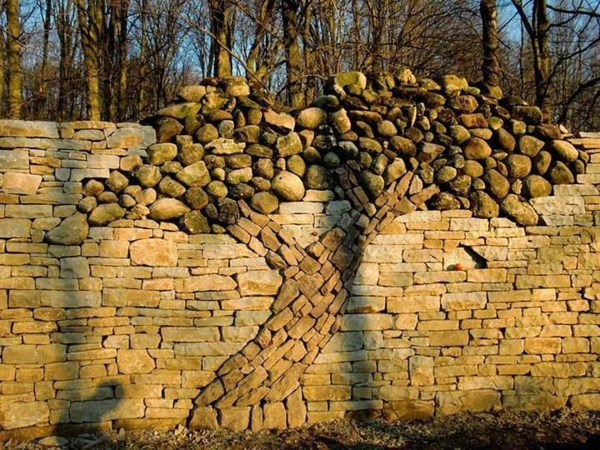 gartenideen steinmauer art baum steinen
