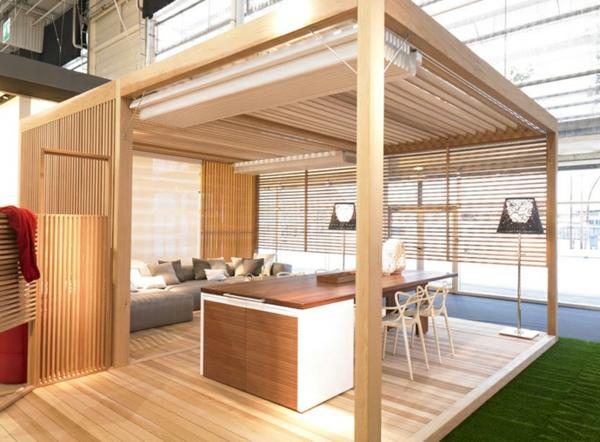 modern sitzecke draußen gartenlaube bauen