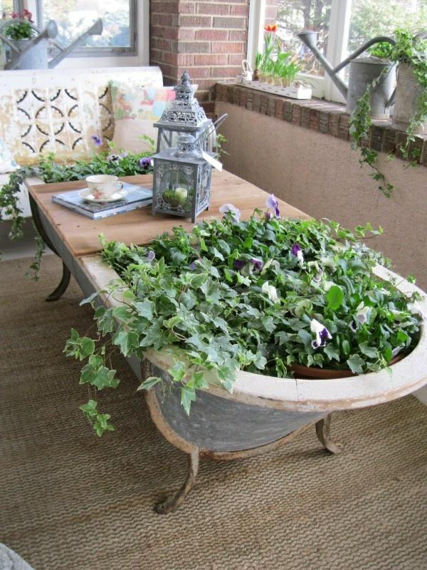 gartentisch-selber-bauen-alte-badewanne-holzplatte, Garten und erstellen