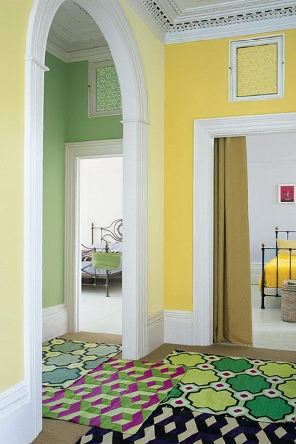 gelb farbgestaltung flur teppich fußmatten
