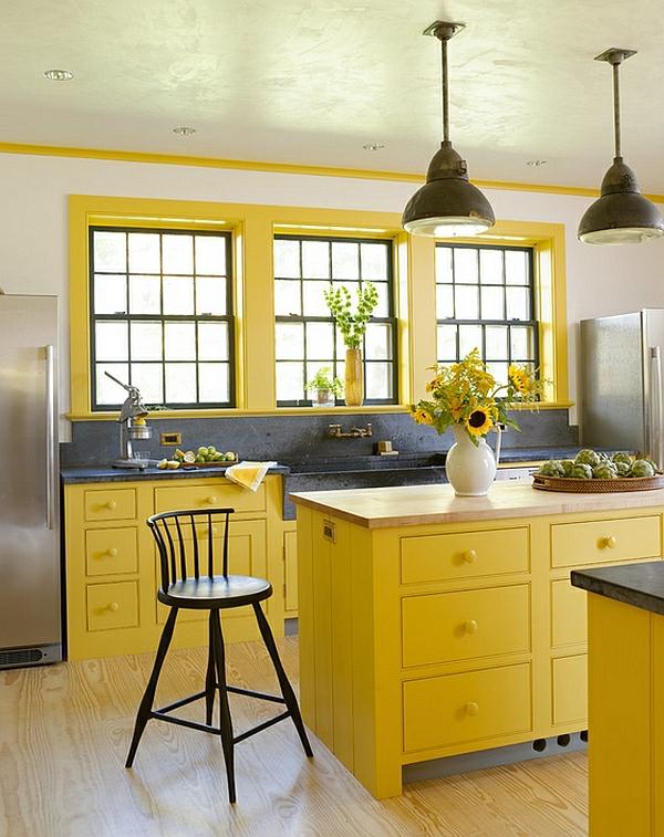 gelb frisch küche hocker lehnen sonnenblumen farben für küchenschränke
