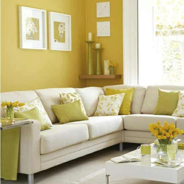 gelb grün kombiniert wohnzimmer sofa kissen schöne wandfarben wohnzimmer