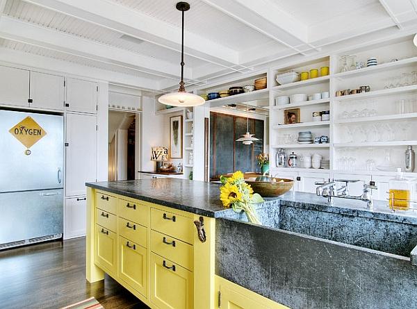 marmor hängelampe gelb küchenschrank Kücheneinrichtung und Küchenmöbel