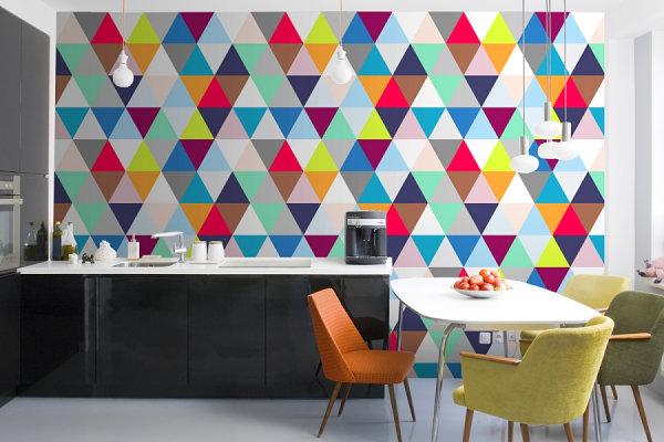 geometrische muster als wanddekoration küche farbige dreiecke