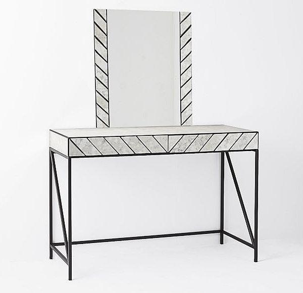 geometrische muster schwarz weiß schminktisch