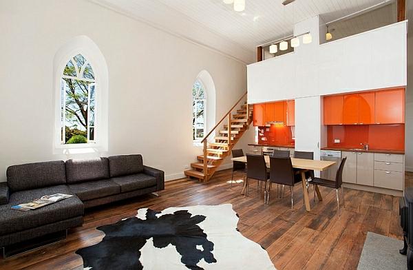 glanzvoll orange küchenschrank esszimmer tiermuster
